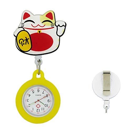 Phoenix Wonder Reloj de Enfermera retráctil con segundero para Enfermeras doctoras Reloj de Solapa Colgante con Clip Diseño Lindo de la Historieta Reloj de Bolsillo, B24