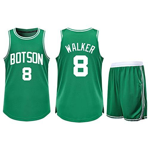 ZGDJZM Jerseys de Baloncesto Celtics 8# Walker Camiseta Suelta Camisa de Baloncesto Shorts Sreutral Traje Green-XXXXL