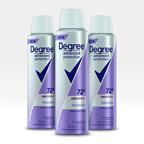 Degree Advanced Protection Antiperspirant Deodorant Spray, 72 HR Wetness Protection Passion Strongest Antiperspirant Spray for Excessive Armpit Sweat, 3.8 oz, Pack of 3