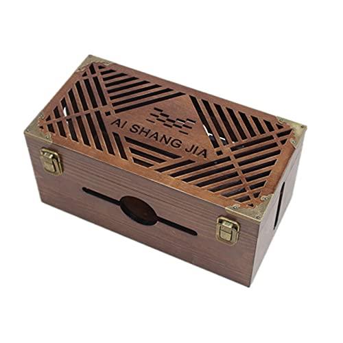 Oukerde Caja Cables De Carga,Organizador De Textura De Madera,Caja Organizadora Cables Grande,Caja...