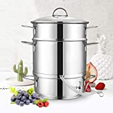 Mr. Rudolf Fruit Juicer Steamer, 26cm 11-Quart Stainless Steel Fruit Vegetables Steamer For Food With Glass Lid Hose With Clamp Loop Handles, Perfect Home Kitchen Stainless Steel Cookware