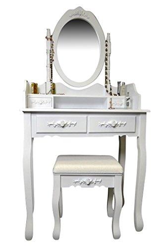 Livitat® Schminktisch mit Hocker und Spiegel 77 cm Höhe Frisierkommode Frisiertisch Weiß SP86 (2)
