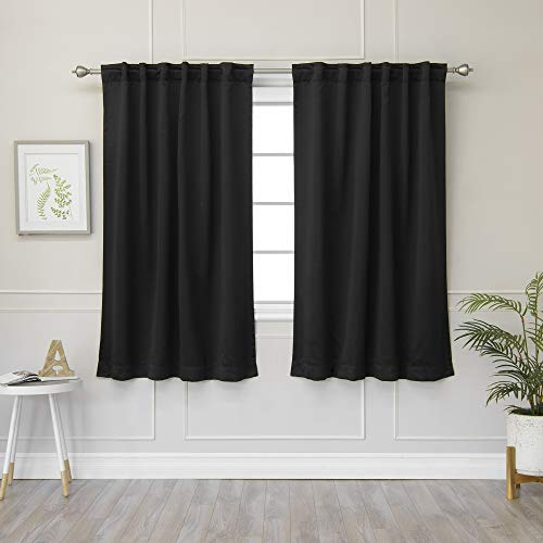 """Best Home Fashion Closeout Basic Thermal Insulated Blackout Curtains - Back Tab/ Rod Pocket - Black - 52"""" W x 63"""" L – No tie Back (1 Panel)"""