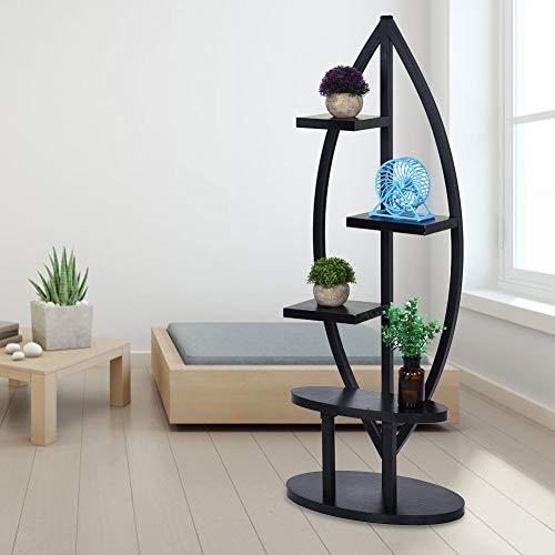 GOTOTOP 4-lagige Gartenpflanzenständer, Blumenständer, Blumen-Regal für den Innenbereich, 123 x 50 x 30 cm Schwarz