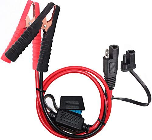YETOR SAE Krokodilklemme,anschluss autobatterie, SAE Schnellwechsel adapter für Krokodilklemmen mit 2FT 10AWG, SAE Clip Steck verbinder Verlängerungslade kabel für Autos Motorräder(SAE Clip)