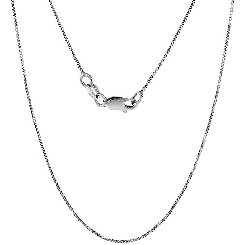 Sterling Silver Box Chain Necklace fine 0.8mm Rhodium Finish Nickel Free Italy, 18 inch