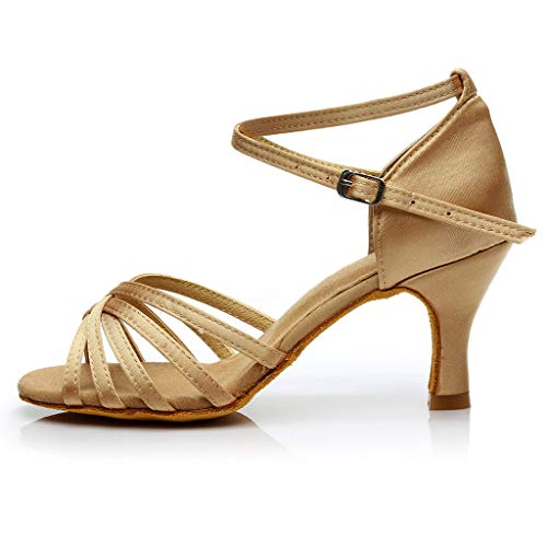 Dorical Damen Latein Tanzschuhe/Sandale mit 3/5cm Absatz/Mädchen Salsa Tanz Latein Stil Tanzschuhe/Ballsaal Tanzschuhe für Halloween Performance-Schuhe Valentinstag Schuhe (Khaki,38 EU)