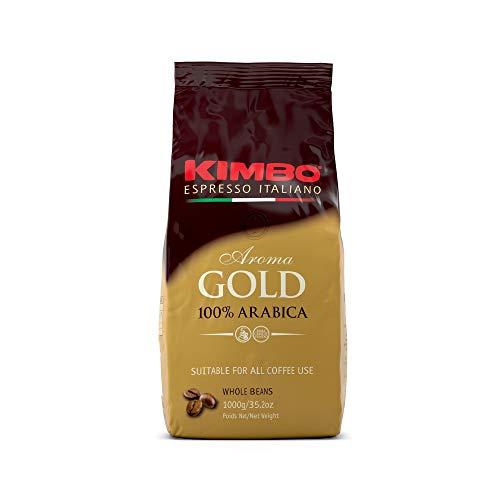 Café en grains Kimbo Gold 100% Arabica, torréfaction foncée, excellent pour les lattés ou les cappuccinos, sachet de 1 kg