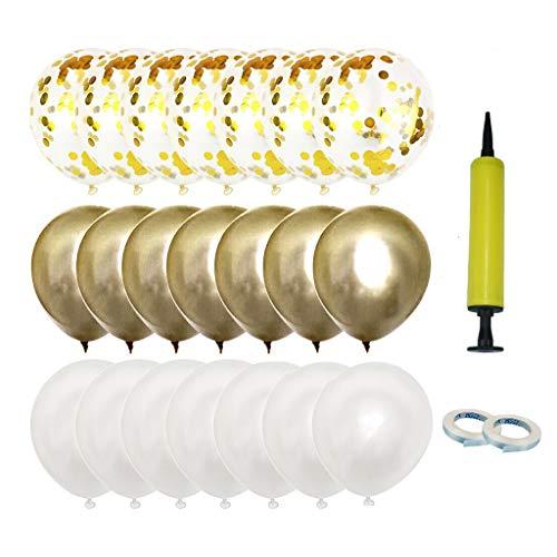 Coriver Globos de 50 piezas, Globos de confeti Globos metálicos de látex Globos blancos, Globos de helio de 12 pulgadas con cintas Inflador para suministros de fiesta de cumpleaños de boda