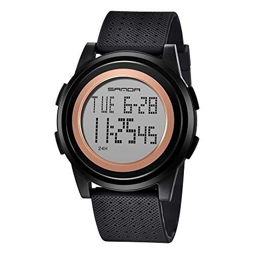A ALPS Uhr Herren Digital,Sport Schwarz Uhren für Männer mit Wecker/Kalender/Led-Licht/Countdown/Stoppuhr 3ATM wasserdichte Silikon Armband Armbanduhr,Flach Digitaluhr