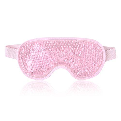 Masque Yeux Froid Masque Des Yeux Gel Gonflés, Cernes, Migraine Réutilisable Poche de Glace en Yeux pour Thérapie Froid Chaud - Rose