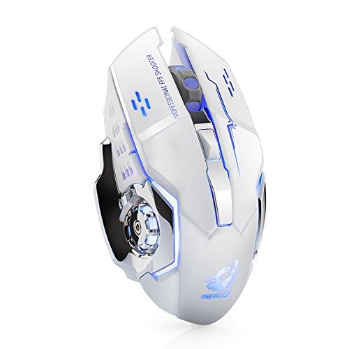 Souris sans fil LexonElec® X8 - Souris de jeu - Silencieuse - Rechargeable - 2,4 GHz - 7 couleurs LED - Rétro-éclairée - 1800 DPI - Ergonomique - 6 boutons