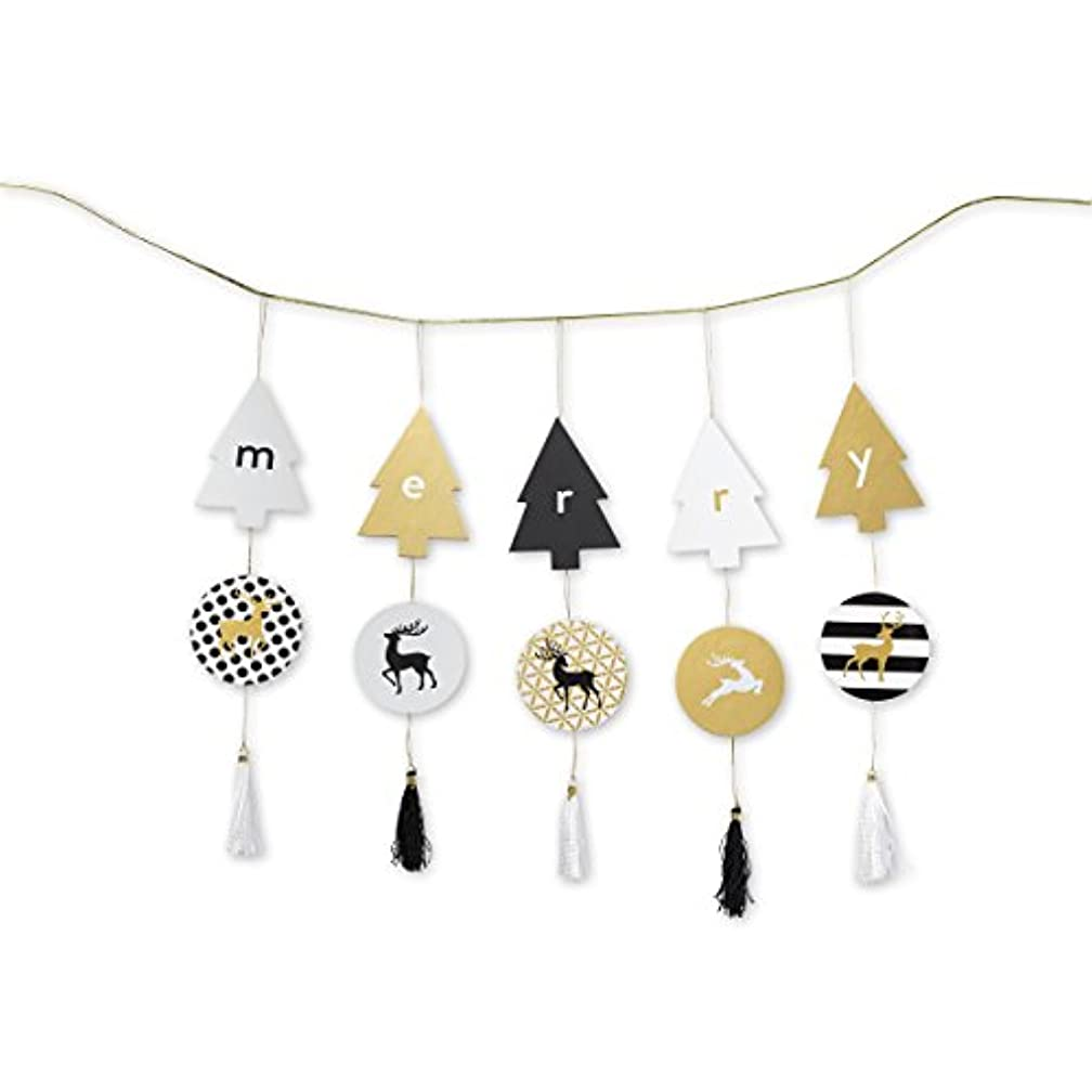 C.R. Gibson Holiday Tassel Garland, 5 Tree Shapes With Lettering, 5 Round Discs With Reindeer, 5 Black & White Tassles, Strand Measures 34