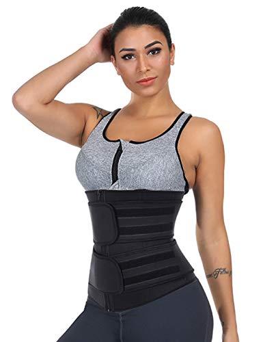 Wonder-Beauty Women Waist Trainer Corset Trimmer Belt Body Shaper Cincher Neoprene Sport Girdle with Zipper