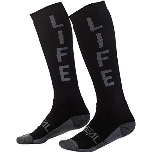 O'NEAL | Mountainbike Motocross Socken | MTB Downhill Freeride | Schweißabsorbierend, Verstärkter Fersen & Sohlenbereich | Pro MX Ride Life | Unisex | Erwachsene | Schwarz Grau | One Size