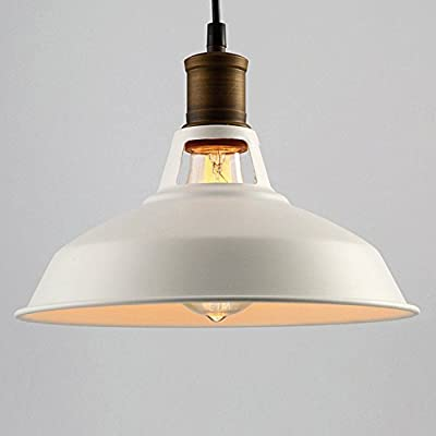 Industrial Ceiling Light, SUN RUN Creative Retro Light Fixture Chandeliers Vintage Metal Pendant Lamp with Painted Finish for Dining Room Kitchen??White