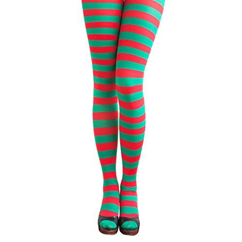 Oblique-Unique® Medias sexys sin tirantes por encima de la rodilla, para fiestas, disfraces, carnaval (medias a rayas rojas y verdes)