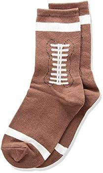 K Bell Socks unisex child Football Crew Casual Sock Brown Shoe Size 11-14 US