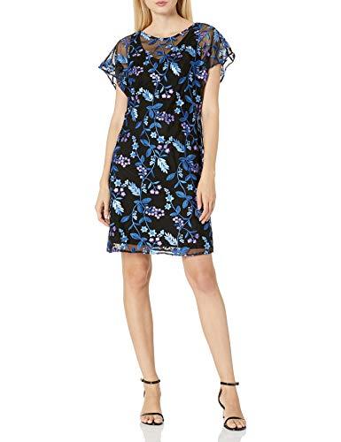 Adrianna Papell Women's Floral Flutter Sleeve Shift Dress, Purple Multi, 12