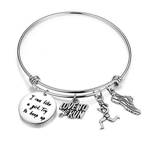 SEIRAA Runner Bracelet I Run Like A Girl Try to Keep Up Expandable Wire Bangle Running Jewelry Marathon Gift (Runner Bracelet)