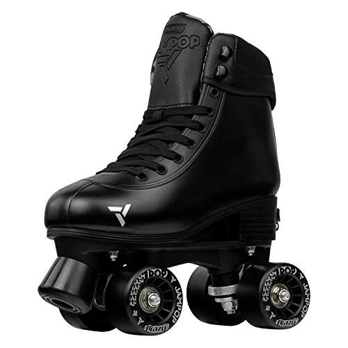 Crazy Skates Adjustable Roller Skates for Boys and Girls - Jam Pop Series - Size Adjustable to Fit 4 Sizes - Black (Size: Small | US Mens j12-2 | US Ladies j12-2 | EU 31-34)