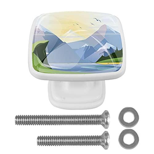 Skåpsknoppar 4 st draghandtag i kristall, natur gräs sjö skog berg kullar, för öppna möbler dörr eller låda