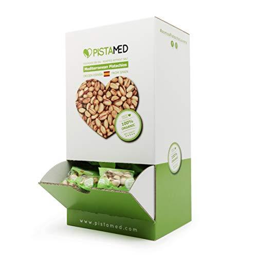 Pistachos ecológicos PISTAMED - 3,5 Kg. Tostado artesanal SIN SAL - Origen España (100 bolsas de 35 gr. = 3,5 kg.) 100 bolsas de pistachos en un expositor dispensador.