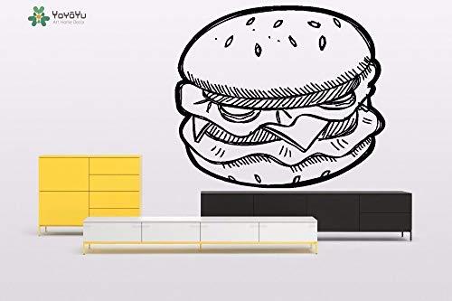 YIYEBAOFU Teamarbeit Wandtattoos Djeco, Wandtattoos Vinyl Art Wandtattoos Schild Display Burger Gemüse Rindfleisch Klassische Raumdekoration85x99cm