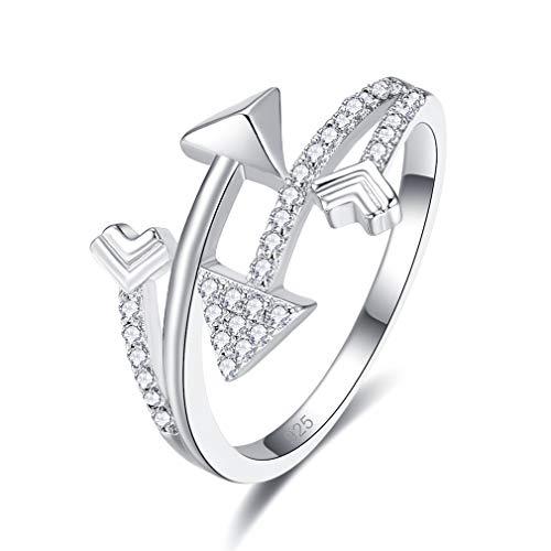 YAZILIND Joyas para Mujer Anillo de Plata esterlina con circonita Flecha 925 Joyas Blancas (14,5)