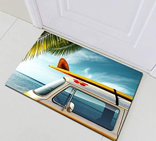NNAYD1996 Tabla de Surf de Coches Antiguos en la Playa Impresión 3D, Accesorios de baño, Puerta de Entrada, Puerta de atrás, Cocina, Sala de Estar, baño