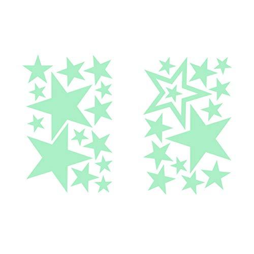 YUIOP 2 unids/lote estrellas pegatina de pared luminosa calcomanía decorativa para el techo del baño de la sala de estaren papel pintado oscuro para el hogar