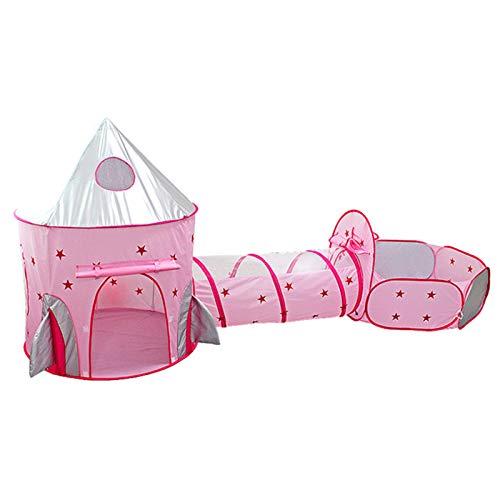 FUMENG Casa de Juegos para niños en Interiores/Exteriores, niños Play Tienda 3 en 1 Tienda Plegable con túnel de rastreo Play House Ball Pit con Bolsa de Almacenamiento con Cremallera,Rosado