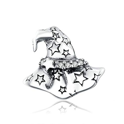 GaLon Women's S925 Sterling Silver Charms Bead Witch Hat DIY Halloween Elements Compatible with Pandora & European Bracelets Necklaces