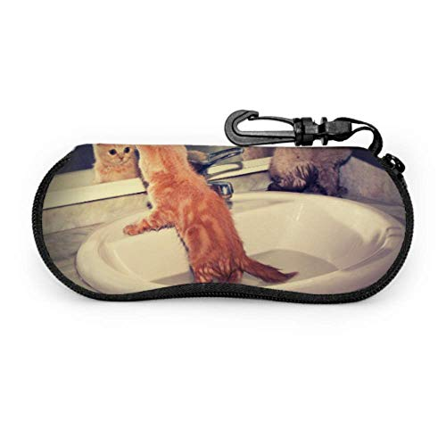 Zwei kleine Kätzchen Ba Waschbecken Rot Fall für Brillen Frauen Sonnenbrillen Fall Soft Case Mädchen Sonnenbrille Fall