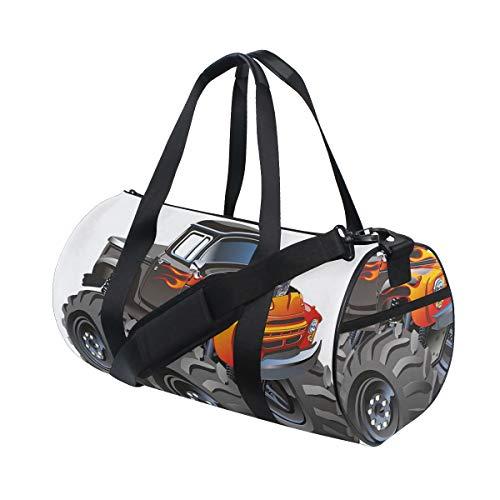 ZOMOY Sporttasche,Monster Truck im Flammen großen Hobby trägt exotische Automobil Art zur Schau,Neue Bedruckte Eimer Sporttasche Fitness Taschen Reisetasche Gepäck Leinwand Handtasche