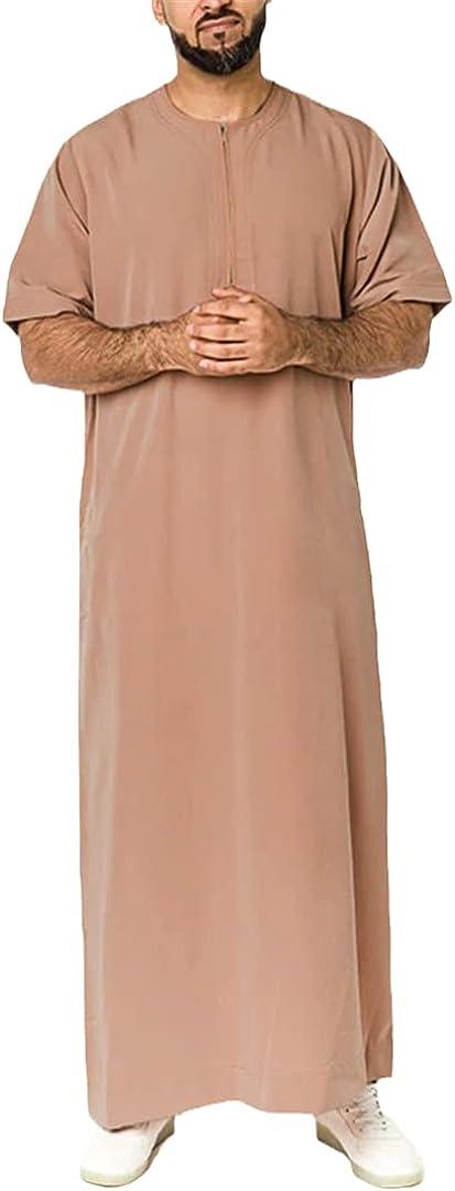 Men Muslim Kaftan Short Sleeve Solid Color O Neck Casual Arabia Islamic Robes