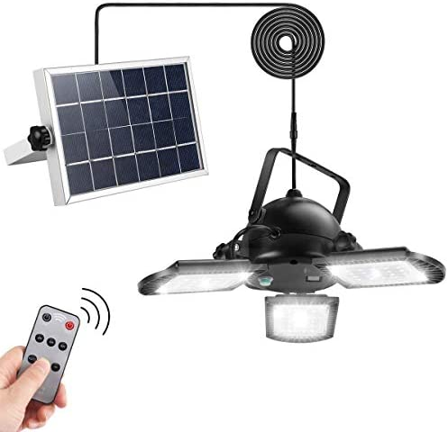 Solar Pendant Lights AGPTEK Solar Powered Shed Light with Remote Control 60LED 800LM for Outdoor product image