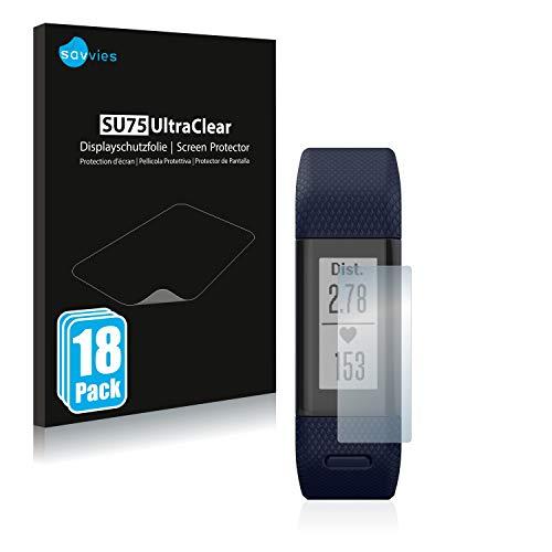 Savvies 18x Schutzfolie kompatibel mit Garmin Vivosmart HR+ Bildschirmschutz-Folie Ultra-transparent
