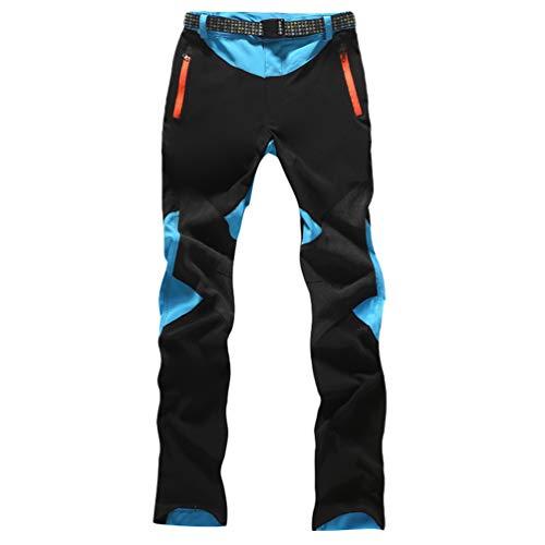 Haobing Mujer Pantalones de Escalada con cinturón Pantalones de Trekking Softshell Pantalón de Acampada y Marcha (#1 Cielo Azul, CN 2XL)