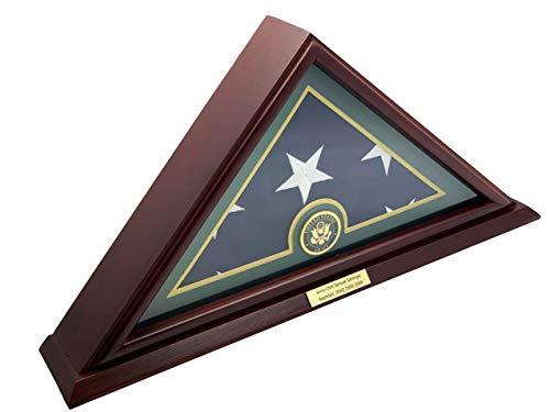 DECOMIL - 12,7 x 22,9 cm Amerikanische Veteranen-Flagge Vitrine aus Massivholz, Kirsch-Finish, kleiner Boden, mit individuellem Namensschild – Armee.