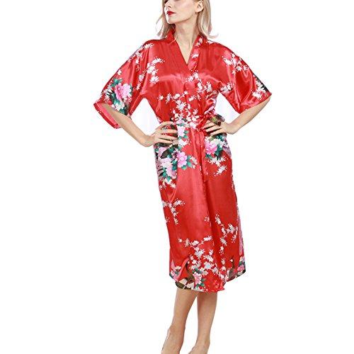 Morbuy Vestido Pijama Pavo Real Mujer Kimono Corto Bata de Satén Kimono Satén Bata Albornoz Camisón