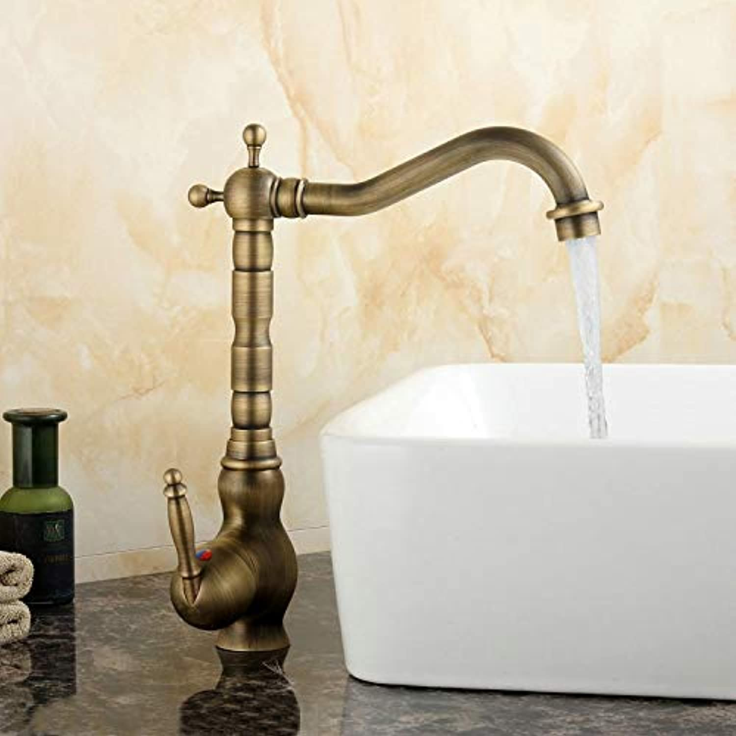 Decorry Kitchen Faucets Brass Basin Mixer Tap Antique Brushed 360 Swivel Faucet 502A