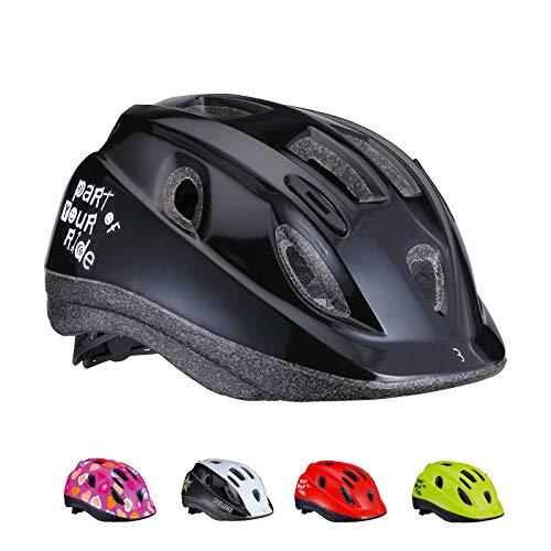 BBB Cycling Unisex-Youth Kinder Fahrradhelm Boogy | Jungen und Mädchen | Radfahren Skateboard Roller Scooter | BHE-37 | Glänzend Schwarz M (52-56 cm), glossy black