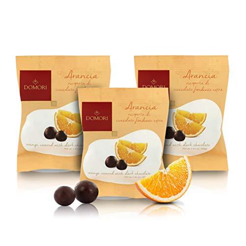 Domori Esferas de Naranja Confitada con Chocolate Negro - 40 Gramos (Paquete de 3 Piezas)
