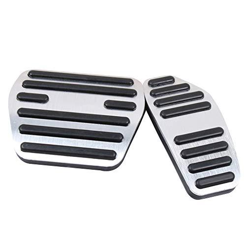 BOYUER Anti-Slip No Drilling Aluminum Brake and Gas Accelerator Pedal Covers For Nissan Kicks 2016-2019 Qashqai j11 2014-2018 Rogue & X-Trail 2014 2015 Sentra 2019 Foot Pedal Pads Kit 2PCS(SILVER)