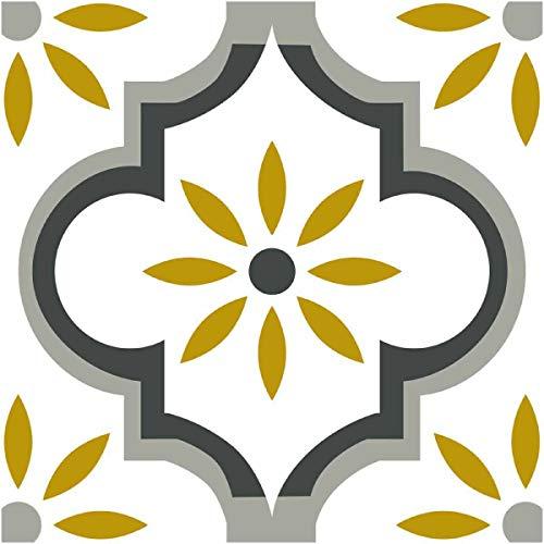 DRAEGER PARIS 1886 – Azulejos adhesivos de pared – Ideal para cocina y baño – Lote de 6 cuadrados adhesivos de diseño floral, ocre y gris 15 x 15 cm