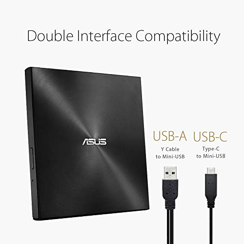 ASUS外付けDVDドライブバスパワー/ポータブル/Type-C/Win&Mac/M-DISC/USB2.0(USB3.0搭載PC対応)/ブラックSDRW-08U9M-U/BLK/G/AS/P2G