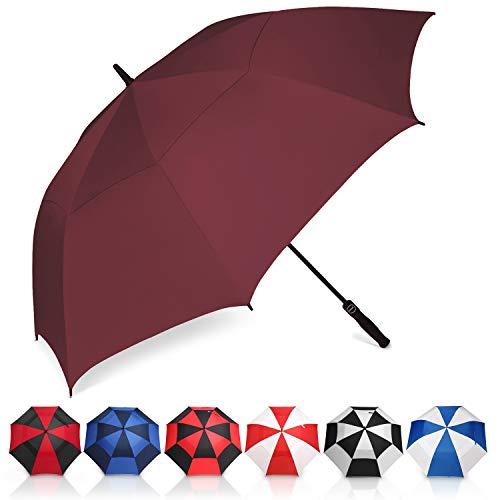 Amazon Brand - Eono Paraguas de Golf Resistente al Viento con Doble Tela y Sistema de Apertura automático, Paraguas Grande, Large Golf Umbrella, Deportivo, Unisex, Impermeable - 62-Inch, Borgoña