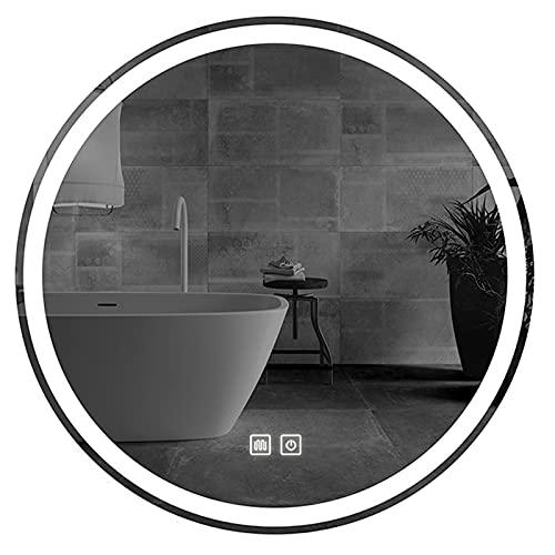 JXCAA Makeup Mirror Espejo De Baño con Luces LED,Espejo Redondo De Baño,Espejo De Pared,Espejo Colgante,Apto para Peluquerías, Hoteles, Camerinos, Camerinos, Baños, 50 Cm