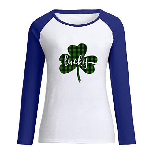 Cuteelf St. Patrick's Day Irischer Nationalfeiertag Langärmliges Shirt mit Patchwork-Klee-Aufdruck Oben und unten Frauen ST. Patricks Day Green O-Neck LangarmTank Top T-Shirt Bluse